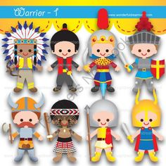 Printable Clip Art Digital PDF PNG File - Baby Boy Warriors from Wonderful Dreamland on TeachersNotebook.com (8 pages)  - baby boy, kids, warrior, fighter, brave, america, japan, china, greece, viking, new zealand, england