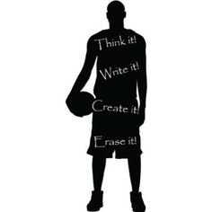 unique vinyl basketball player wall chalkboard, great for a kids room