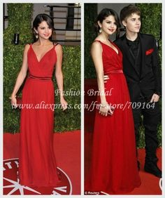 2013 Hot Sale Sexy Justin Biber' Girlfriend Selena Gomez Long Chiffon Red Celebrity Dresses FL008 $139.51