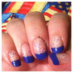 A simple #4th of #July manicure...There are so many ways to use a bit of nailart to make your nails ready for your #July4th celebrations...a blue #French #manicure, with a touch of red, white & blue confetti, make this an easy way to show some #patriotic flair!