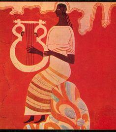 Mycenaean Frescoes Illustration mycenaean fresco