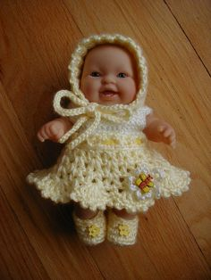 Hand crochet Doll Clothes for 8 inch Berenguer by longvalleybears, $10.00
