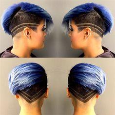 blue hair with undercut pixie cut