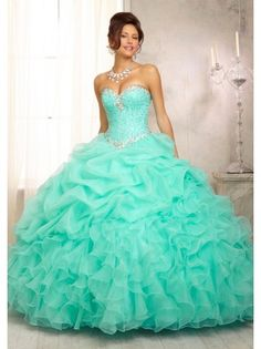 Ball Gown Sweetheart Silver Rhinestones Pick-up Ruffles Turquoise Organza Long Quinceanera Dress