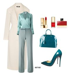 """""""CROSS & FLARED......!"""" by betty-sanga ❤ liked on Polyvore featuring Christian Louboutin, Louis Vuitton, Yves Saint Laurent, Dolce&Gabbana, DKNY, STRATEAS.CARLUCCI, Giorgio Armani and Gucci"""