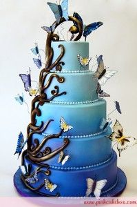 Here is a cake idea but of course change the colors have it go from green to blue and the butterflies purple green and blue.