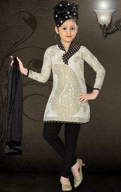 Picture of Enigmatic Off White Color Kids Churidar Kameez