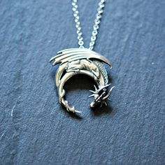 Sterling silver dragon necklace winged dragon by crashandduchess