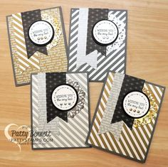 Gold and Silver striped cards with banner and metallic doilies - Stampin' Up! Neutrals paper stack