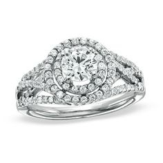 1-1/4 CT. T.W. Round Diamond Framed Contour Ring in 14K White Gold