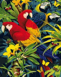 """Trademark Fine Art Howard Robinson """"Parrot Sitting In Flowers"""" Canvas Art at Lowe's. This ready to hang, gallery-wrapped art piece features three parrots standing in trees. Artist Canvas, Canvas Art, Canvas Prints, Canvas Size, Canvas Paintings, Exotic Birds, Colorful Birds, Bird Art, Bird Feathers"""