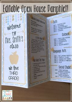 Information Pamphlet for Open House! Great for Meet the Teacher, Open House, and/or Back to School Night! Provide this cool info pamphlet for parents! This product is completely EDITABLE so just type in the information you would like to share with parents during Open House! Sample text included to help give you ideas on what to feature.