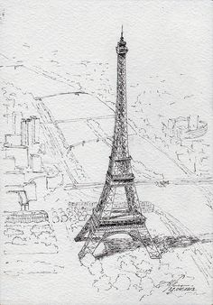 Travel drawing paris Ideas for 2019 Eiffel Tower Tour, France Eiffel Tower, Famous Architectural Buildings, Bullet Journal Cover Ideas, Sketches Of Love, Paris Images, Travel Drawing, Paris Art, Paris Photography