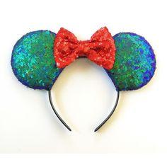 Little Mermaid Mickey Ears, Ariel Mickey Ears, Little Mermaid Sequin... ($35) ❤ liked on Polyvore featuring accessories