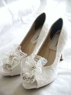 Wedding Shoes White Lace high heels white lace flower crystals