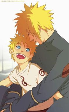 It's actually Naruto & Minato, but with the release that a new mini series is coming out after Naruto Shippuden & it's going to focus on Naruto & his kids, I think this looks hella lot like Naruto & his son! Anime Naruto, Minato Y Naruto, Manga Anime, Sarada Uchiha, Shikamaru, Anime Guys, Gaara, Hot Anime, Naruhina