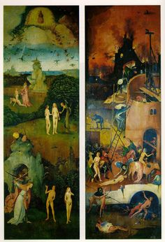 Bosch, Hieronymus    Paradise and Hell    c. 1510 (170 Kb); Left and right panels of a triptych: oil on wood, Each panel 135 x 45 cm (53 1/4 x 17 3/4 in); Prado, Madrid