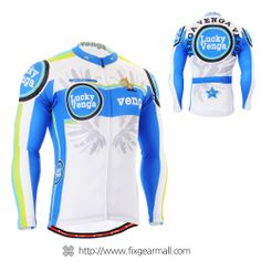 Fixgearmall - #FIXGEAR Men's #Cycling #Jersey Long Sleeve, model No CS-g201, Lucky Venga Blue, Long-lasting and safe #unique design printing, Using Advanced Performance Fabric ( #AeroFIX ), #bicycle #roadbike #MTB #tracksuit #sportswear