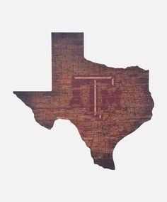 Texas A&M State Map Sign #AggieGifts #AggieStyle #AggieHome