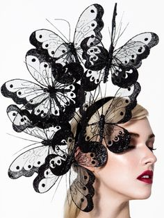 Hats for Women: Hopi, Black Butterfly Fascinator by Arturo Rios Costume Venitien, Crazy Hats, Fancy Hats, Kentucky Derby Hats, Love Hat, Red Hats, Headpieces, Fascinators, Fascinator Headband