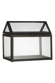 Small greenhouse: Small glass and metal greenhouse with an opening roof, hinges and a small handle. Size 16x24x28 cm.