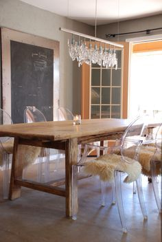 I Love Our Dark Wood Farmhouse Dining Table And Ghost Chair Amusing Farmhouse Dining Room Table And Chairs Design Inspiration