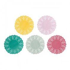 Mini napperons dentelle en papier 5 couleurs assorties