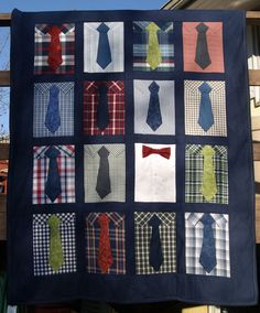 Shirt and Tie Quilt by CaridyDesigns on Etsy, $150.00