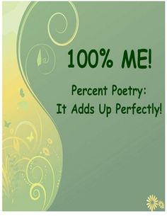 Percent Poetry - 100% Me! A great getting-to-know you activity for the first days of school. FREE!