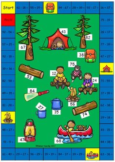 Kampeerspel, plus en min tot 100 (over het tiental) Math Literacy, Math Classroom, Teaching Math, Counting Activities, Math Games, Math Coloring Worksheets, Math Night, 1st Grade Math, Addition And Subtraction