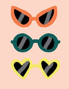 Yellow for the sun, Red for the moon ( round glasses don't fit my face ) Art And Illustration, Illustration Inspiration, Cute Backgrounds, Cute Wallpapers, Pop Art, Retro Wallpaper, Photo Wall Collage, Arte Pop, Art Design