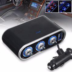 3-Way Car USB Charger Cigarette Lighter Socket Splitter DC 12V/24V LED Switch