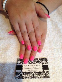 Flashy pink nails