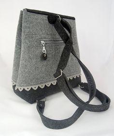 36efa15138735 Grey lovely handmade fashionable Big Size Felt Backpack with anthracite  felt purse felted everyday use extra large folk flounce