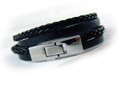 Men's braided leather bracelet black silver by elfenstuebchen