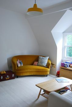 lovely nook in the home of a house like this bloggers. My daughter had a green sofa shaped like this in college
