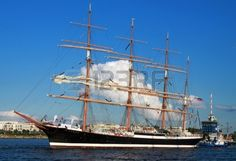 PORT WARNEM�NDE, GERMANY - AUGUST 13: Evening cruise of the old Russian Sailing ship