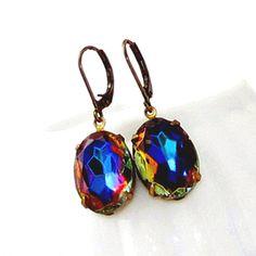 Peacock Stone Vintage Dark Vitrail Heliotrope Earrings  marmalade jewelry & accessories on etsy