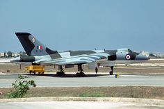 Avro Vulcan B2 XL317 of No 617 Squadron at RAF Luqa, Malta in 1975. The radome at the extreme rear of the aircraft covers the Red Steer Mk 1 rearward-looking radar. This radome was stubbier than the one over the improved Red Steer Mk 2. Fitting the Red Steer Mk 2 actually lengthened the aircraft by an inch or two!