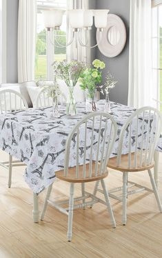 Beatrice Paris Rectangle Kitchen Tablecloth Eiffel Tower Hearts White Pink Black, 60 x 102 – Kitchen Accessories – Home & Kitchen Kitchen Cabinets Decor, Kitchen Decor Themes, Cabinet Decor, Paris Home Decor, Kitchen Tablecloths, Simple Home Decoration, Paris Theme, Dining Table, Dining Room