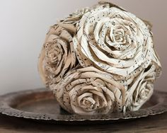 Sheet Music Rose Bridal Bouquet - Ivory and Black Paper Wedding Flowers made from Vintage Song Books. $137.00, via Etsy.