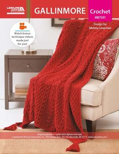 Gallinmore Afghan Crochet ePattern - In the exquisite Gallinmore Afghan, Post Stitches and Popcorns create the look of textured Aran panels. Jumbo tassels anchor the corners. Finished size is 53 x 67 inches (134.5 x 170 cm). Supplies needed are medium weight yarn and a size H (5 mm) crochet hook. The photo model  was crocheted using Lion Brand® Heartland® in #113 Redwood (20 skeins). Instructions are for Intermediate skill level. Free online tutorials provide extra support. This design by…