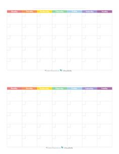 This free printable monthly calendar begins on Monday and prints two 4.25 x 5.5 per 8.5x11 page and features a rainbow colour scheme