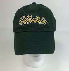 1c7c08d16e3a0 Cabelas Hat Baseball Cap Green Yellow Adjustable Worlds Foremost Outfitter  Mens  fashion  clothing