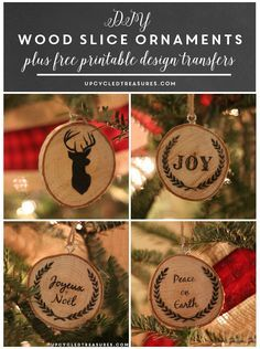 DIY wood slice Christmas ornaments!