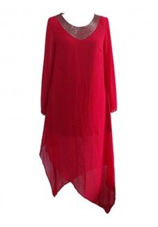 Plus Size Ladies Long Assymetrical Tunic/Dress - Red