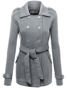 FPT Womens Double Breasted Peacoat With Waist Tie DARK HEATHER GRAY MEDIUM