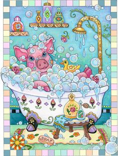 """""""Piggy in a Bathtub"""" ©Marjorie Sarnat, from Pampered Pets Coloring Book."""