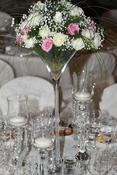 hihght centrepieces,,pink and white flowers, gypsophila,roses