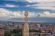 In the capital city of Yerevan, volcanic rock flows pink